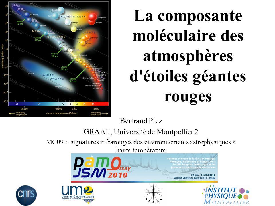 La composante moléculaire des atmosphères d étoiles géantes rouges Bertrand Plez GRAAL, Université de Montpellier 2 MC09 : signatures infrarouges des environnements astrophysiques à haute température