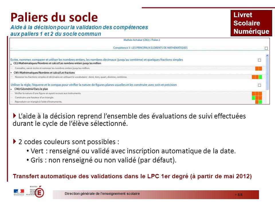 > 8/8 Direction générale de lenseignement scolaire Paliers du socle Laide à la décision reprend lensemble des évaluations de suivi effectuées durant le cycle de lélève sélectionné.