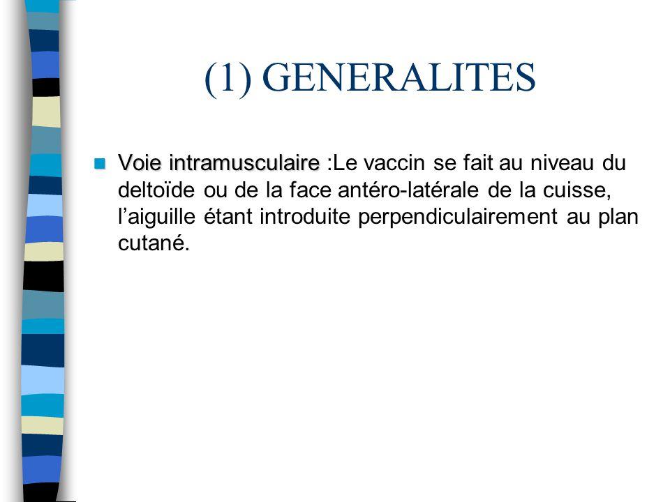 (1) GENERALITES Voie intramusculaire Voie intramusculaire :Le vaccin se fait au niveau du deltoïde ou de la face antéro-latérale de la cuisse, laiguil