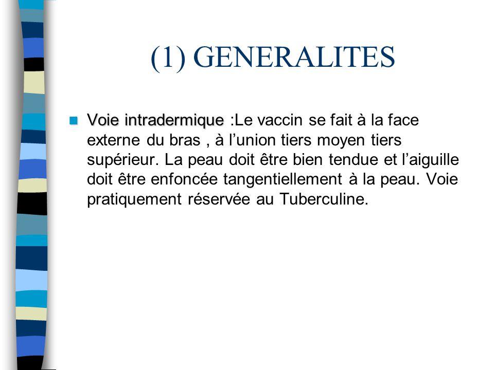 (1) GENERALITES Voie intradermique Voie intradermique :Le vaccin se fait à la face externe du bras, à lunion tiers moyen tiers supérieur. La peau doit
