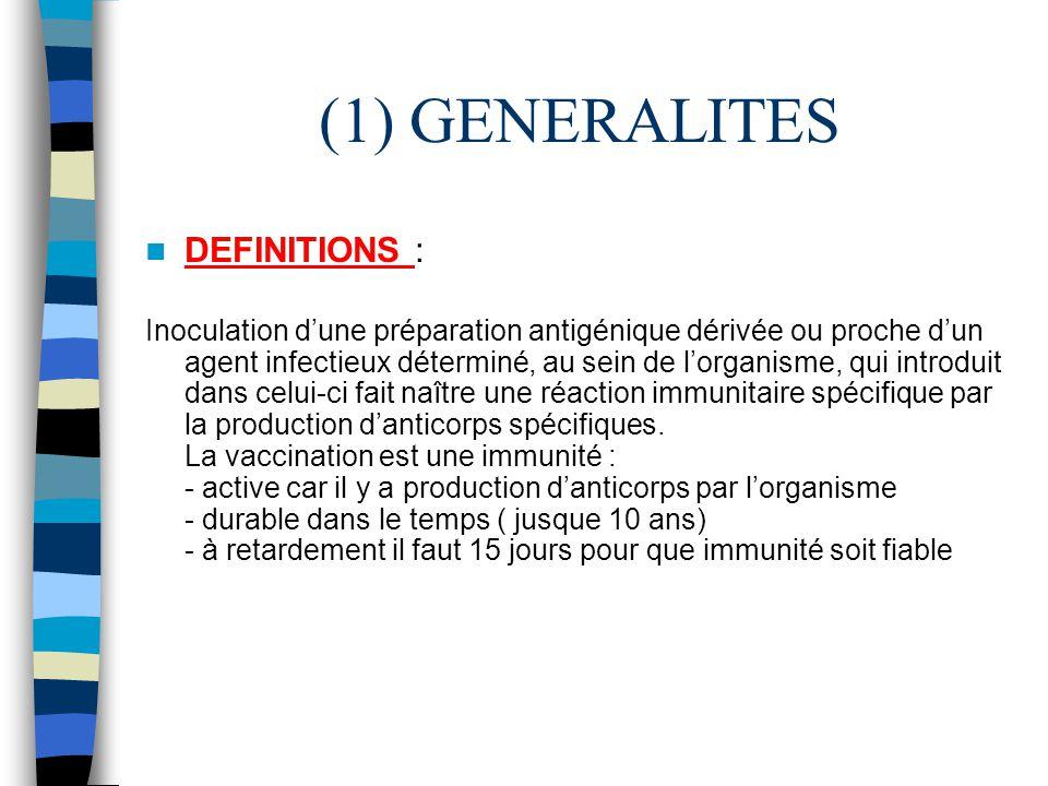 (1) GENERALITES DEFINITIONS : Inoculation dune préparation antigénique dérivée ou proche dun agent infectieux déterminé, au sein de lorganisme, qui in