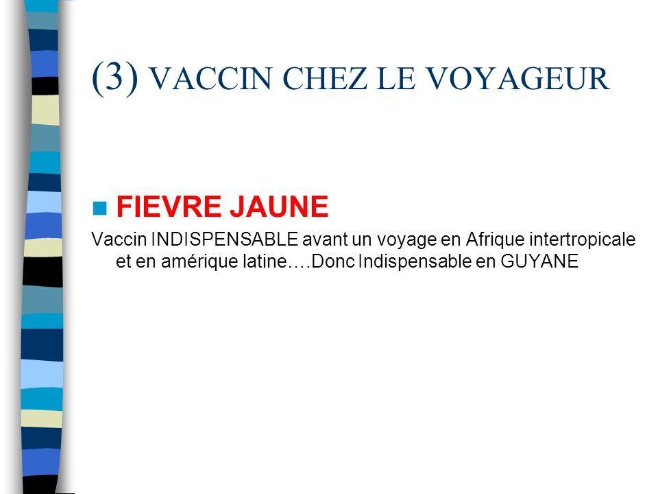 (3) VACCIN CHEZ LE VOYAGEUR FIEVRE JAUNE Vaccin INDISPENSABLE avant un voyage en Afrique intertropicale et en amérique latine….Donc Indispensable en G