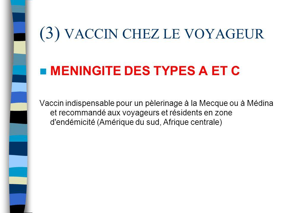(3) VACCIN CHEZ LE VOYAGEUR MENINGITE DES TYPES A ET C Vaccin indispensable pour un pèlerinage à la Mecque ou à Médina et recommandé aux voyageurs et