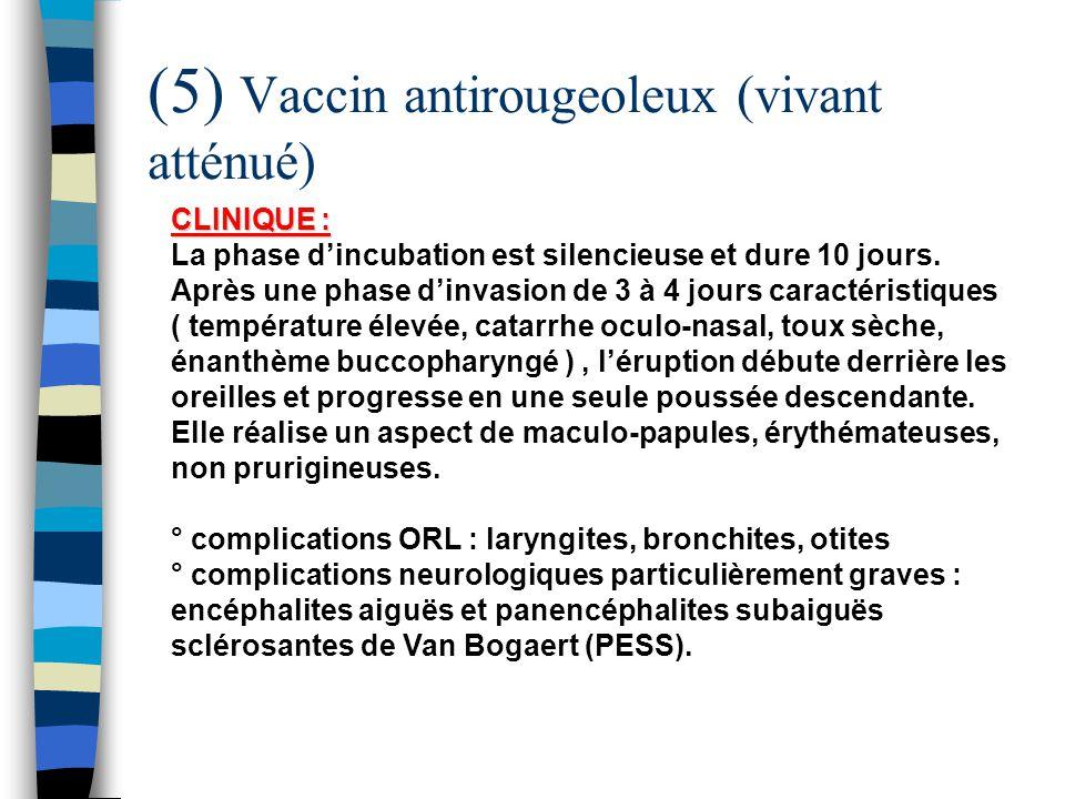 (5) Vaccin antirougeoleux (vivant atténué) CLINIQUE : CLINIQUE : La phase dincubation est silencieuse et dure 10 jours. Après une phase dinvasion de 3