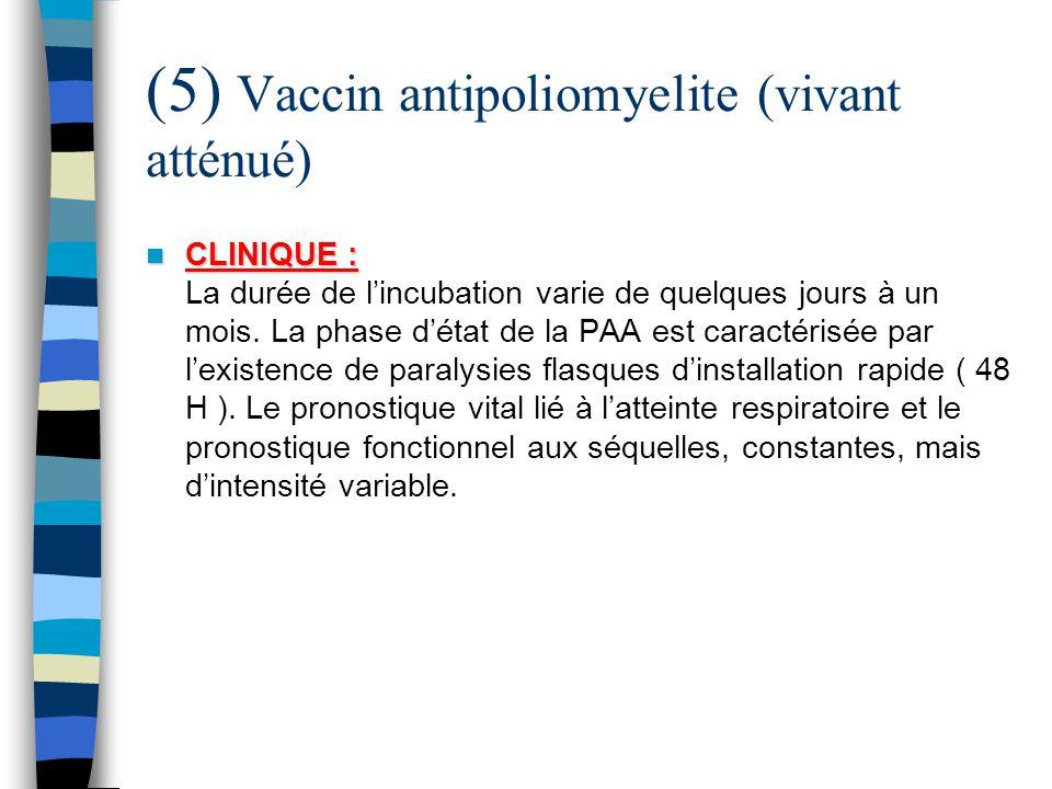 (5) Vaccin antipoliomyelite (vivant atténué) CLINIQUE : CLINIQUE : La durée de lincubation varie de quelques jours à un mois. La phase détat de la PAA