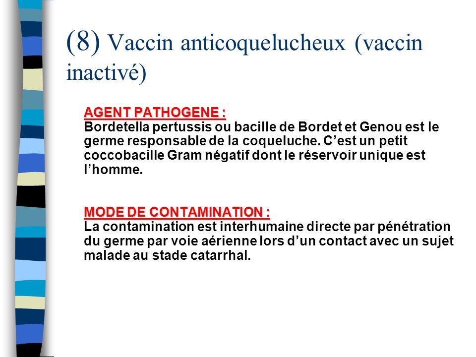 (8) Vaccin anticoquelucheux (vaccin inactivé) AGENT PATHOGENE : MODE DE CONTAMINATION : AGENT PATHOGENE : Bordetella pertussis ou bacille de Bordet et