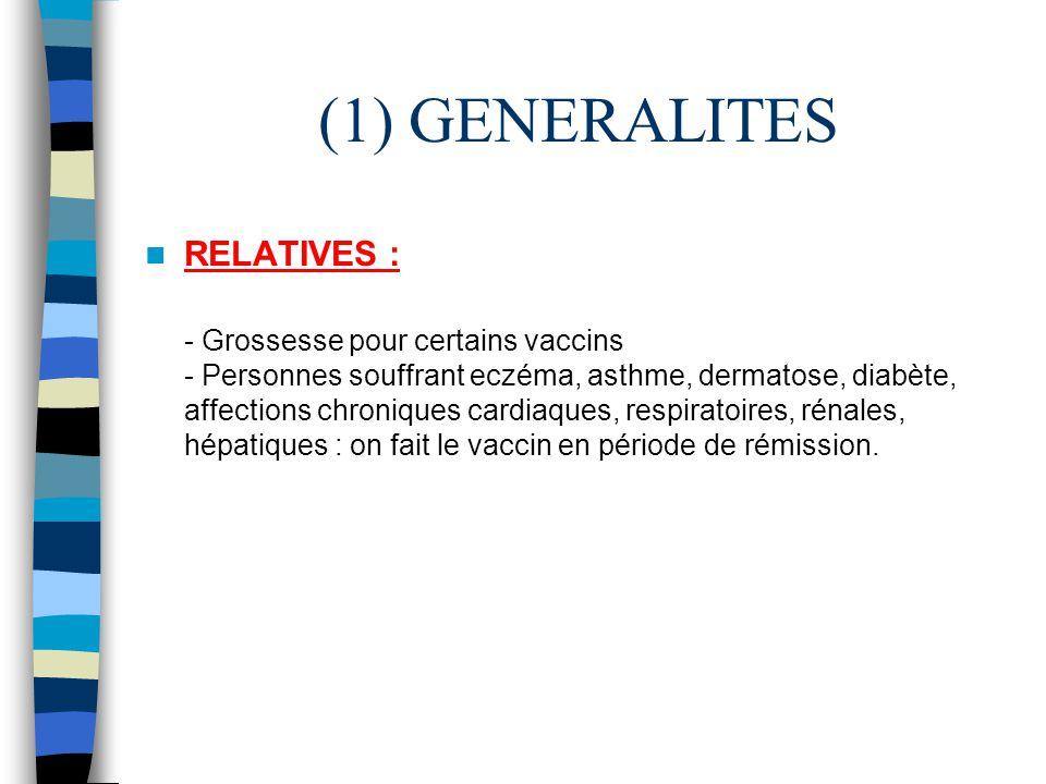 (1) GENERALITES RELATIVES : - Grossesse pour certains vaccins - Personnes souffrant eczéma, asthme, dermatose, diabète, affections chroniques cardiaqu