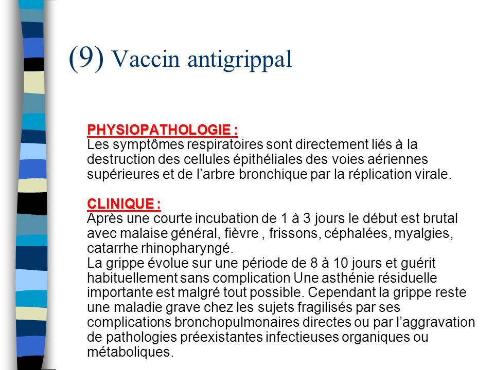 (9) Vaccin antigrippal PHYSIOPATHOLOGIE : CLINIQUE : PHYSIOPATHOLOGIE : Les symptômes respiratoires sont directement liés à la destruction des cellule