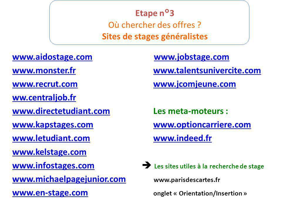 Etape n°3 Où chercher des offres ? Sites de stages généralistes www.aidostage.comwww.aidostage.com www.jobstage.comwww.jobstage.com www.monster.frwww.