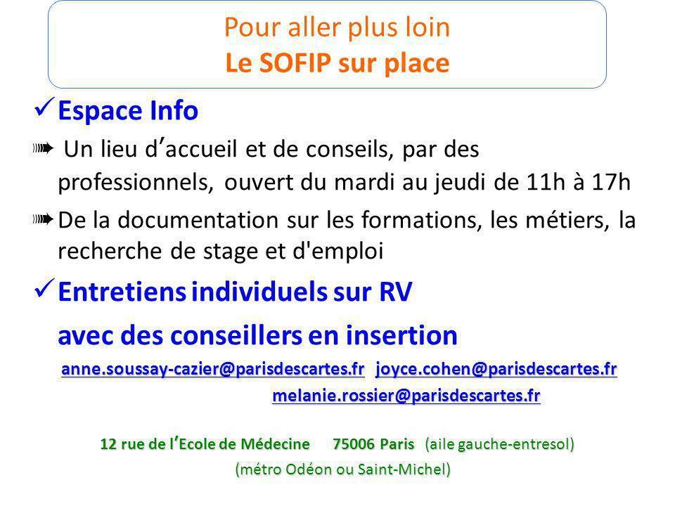 Pour aller plus loin Le SOFIP sur place Espace Info Un lieu daccueil et de conseils, par des professionnels, ouvert du mardi au jeudi de 11h à 17h De