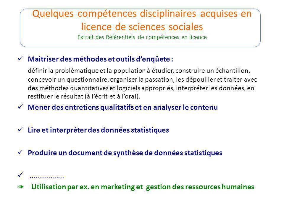Quelques compétences disciplinaires acquises en licence de sciences sociales Extrait des Référentiels de compétences en licence Maitriser des méthodes