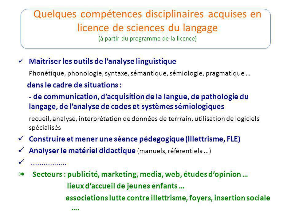 Quelques compétences disciplinaires acquises en licence de sciences du langage (à partir du programme de la licence) Maitriser les outils de lanalyse