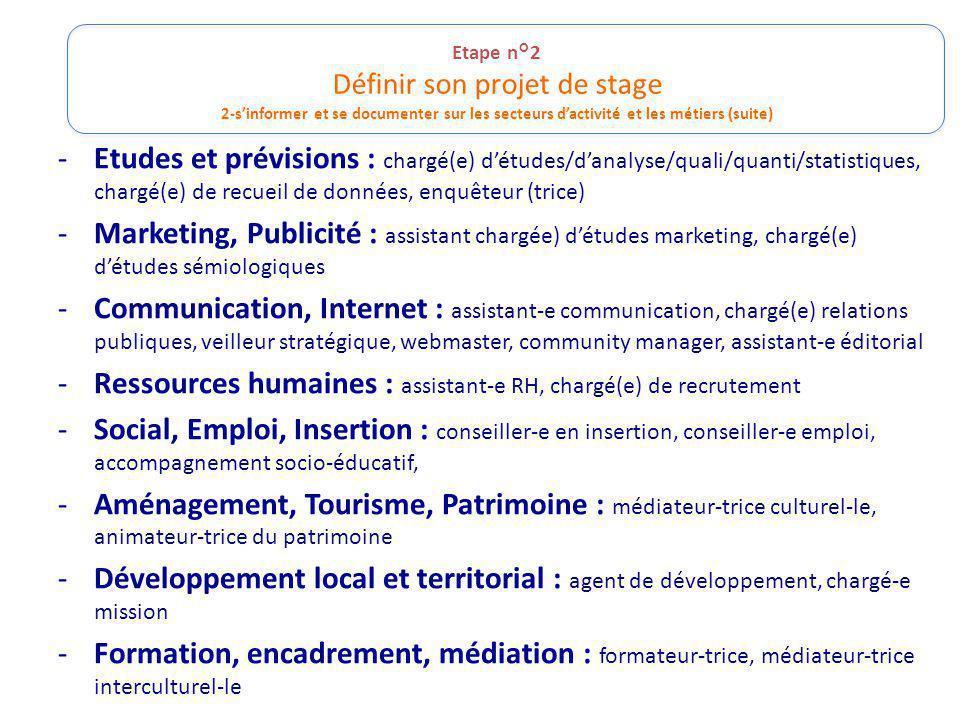 Etape n°2 Définir son projet de stage 2-sinformer et se documenter sur les secteurs dactivité et les métiers (suite) -Etudes et prévisions : chargé(e)