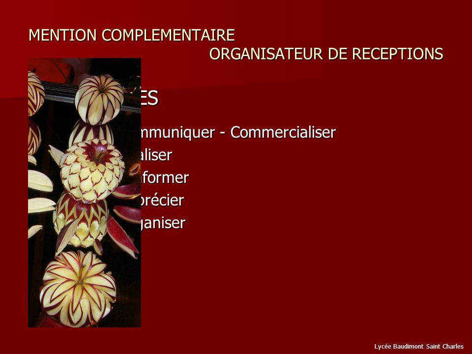 MENTION COMPLEMENTAIRE ORGANISATEUR DE RECEPTIONS CAPACITES CAPACITES C.1 / Communiquer - Commercialiser C.1 / Communiquer - Commercialiser C.2 / Réaliser C.2 / Réaliser C.3 / Sinformer C.3 / Sinformer C.4 / Apprécier C.4 / Apprécier C.5 / Organiser C.5 / Organiser Lycée Baudimont Saint Charles