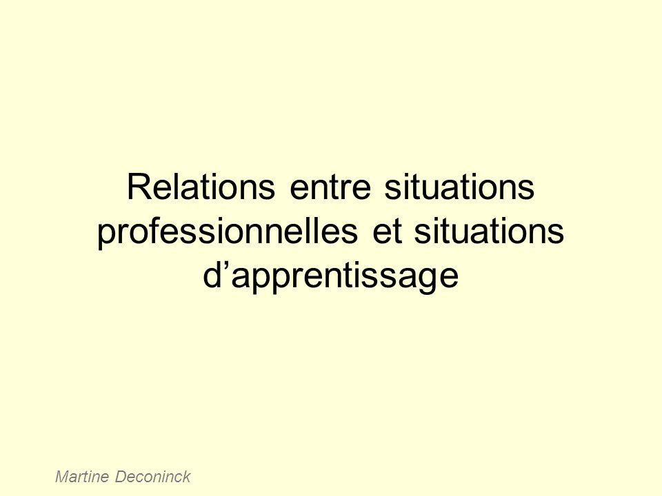 Relations entre situations professionnelles et situations dapprentissage Martine Deconinck