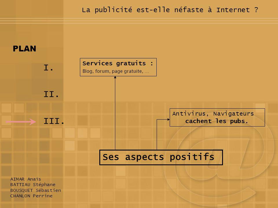 I. II. III. AIMAR Anaïs BATTIAU Stéphane BOUSQUET Sébastien CHANLON Perrine PLAN Ses aspects positifs Services gratuits : Blog, forum, page gratuite,