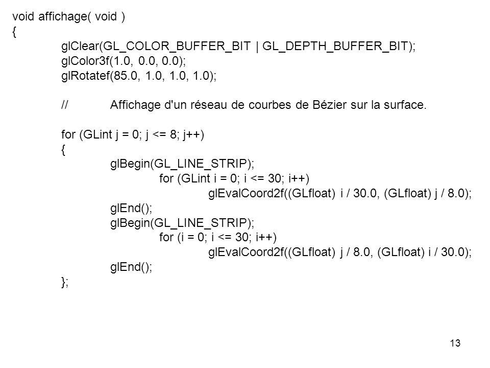 13 void affichage( void ) { glClear(GL_COLOR_BUFFER_BIT | GL_DEPTH_BUFFER_BIT); glColor3f(1.0, 0.0, 0.0); glRotatef(85.0, 1.0, 1.0, 1.0); //Affichage d un réseau de courbes de Bézier sur la surface.