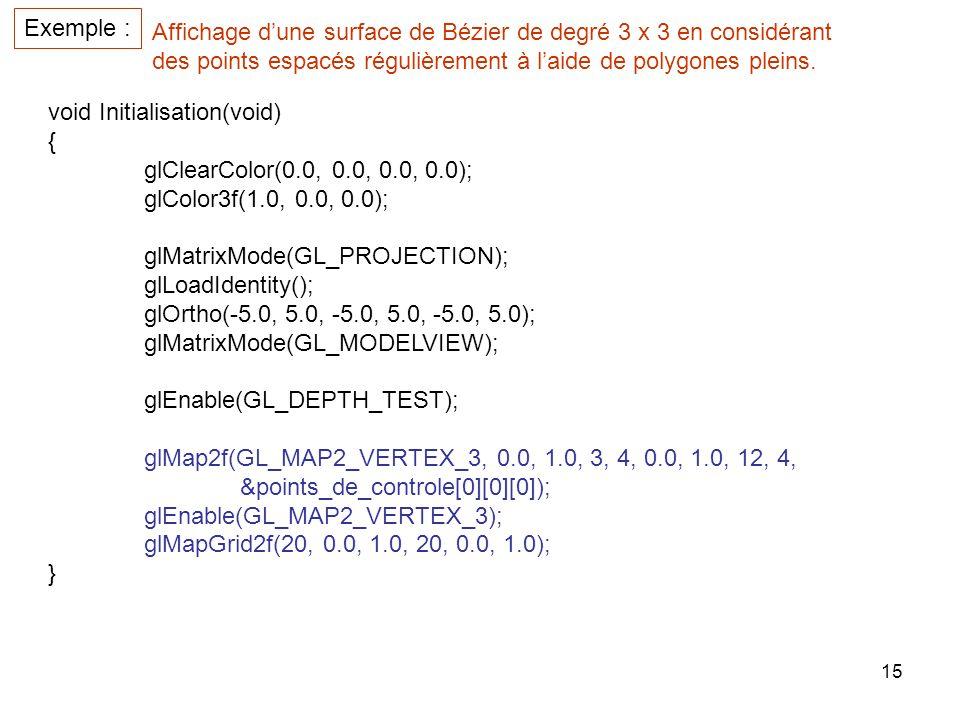 15 Exemple : Affichage dune surface de Bézier de degré 3 x 3 en considérant des points espacés régulièrement à laide de polygones pleins.