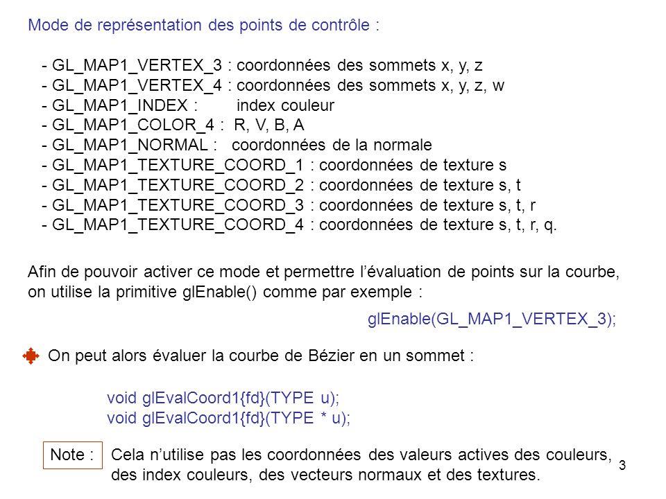 4 On peut aussi évaluer la courbe de Bézier en des points espacés régulièrement : Au lieu de faire appel à glEvalCoord1() avec nimporte quelle valeur de u, on définit dabord une grille de points sur la courbe : void glMapGrid1{fd}(GLint n, TYPE u1, TYPE u2); Une grille de n points sur la courbe également espacés entre u1 et u2 est définie.