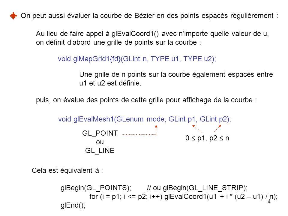 5 Exemple : GLfloat points_de_controle[4][3] ={{-4.0, -4.0, 1.0},{-2.0, -1.0, 0.0}, {0.0, 0.0, -1.0},{4.0, 4.0, 1.0}}; void Initialisation(void) { glClearColor(0.0, 0.0, 0.0, 0.0); /* Permet de fixer les 3 composantes réelles de la couleur d affichage.