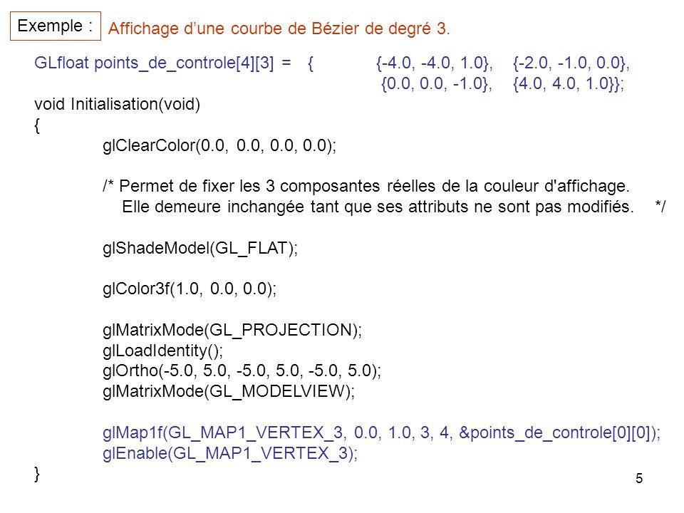 5 Exemple : GLfloat points_de_controle[4][3] ={{-4.0, -4.0, 1.0},{-2.0, -1.0, 0.0}, {0.0, 0.0, -1.0},{4.0, 4.0, 1.0}}; void Initialisation(void) { glC