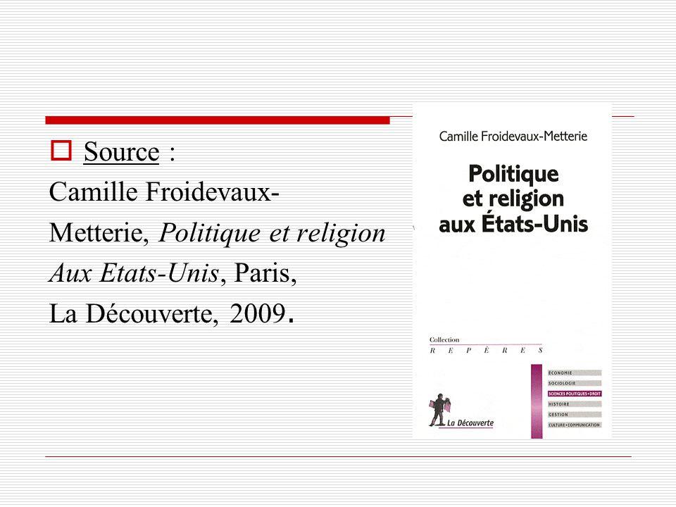 Source : Camille Froidevaux- Metterie, Politique et religion Aux Etats-Unis, Paris, La Découverte, 2009.
