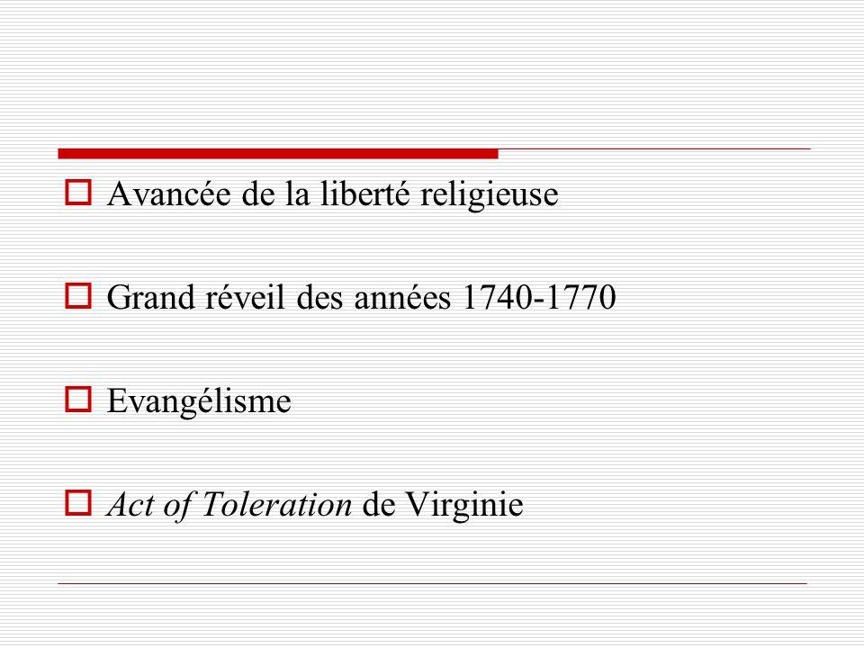 Avancée de la liberté religieuse Grand réveil des années 1740-1770 Evangélisme Act of Toleration de Virginie