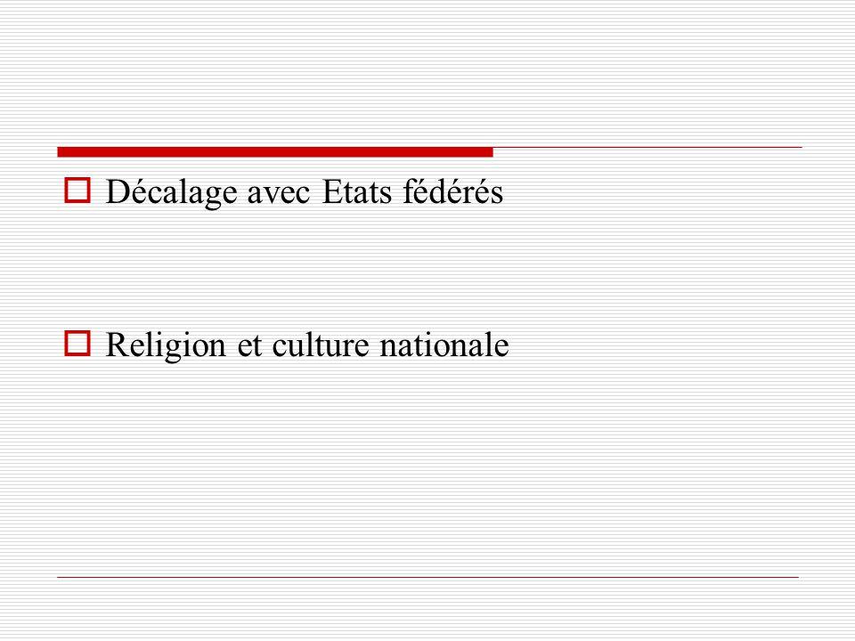Décalage avec Etats fédérés Religion et culture nationale