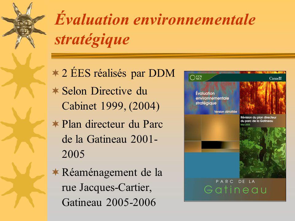 Évaluation environnementale stratégique 2 ÉES réalisés par DDM Selon Directive du Cabinet 1999, (2004) Plan directeur du Parc de la Gatineau 2001- 2005 Réaménagement de la rue Jacques-Cartier, Gatineau 2005-2006