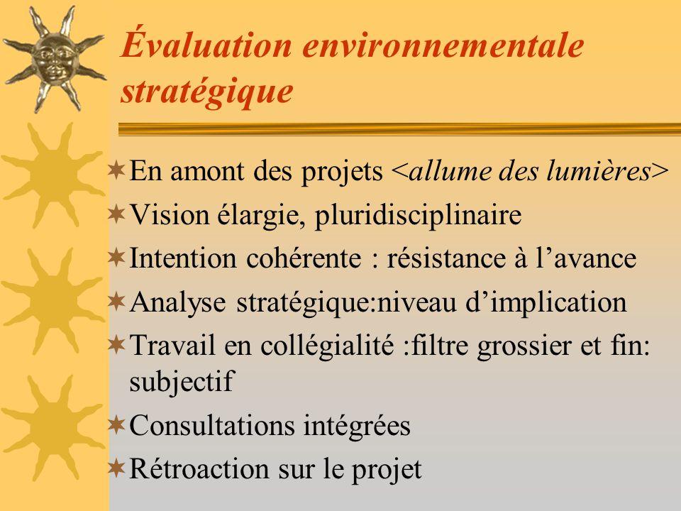 Évaluation environnementale stratégique Difficulté - mesurer des objectifs, des principes - impacts cumulatifs - intégrité processus et résultats - budget (20% à 30%)