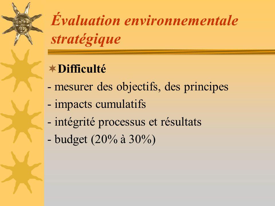 Évaluation environnementale stratégique Avantages -Orientation générale des projets - Fait prendre conscience en amont - Améliore le produit pour environnement et société - Public intégré Principale écueil - Faire dire nimporte quoi