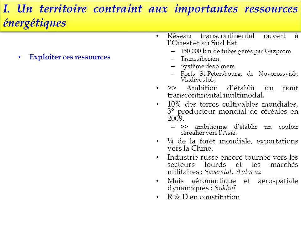 I. Un territoire contraint aux importantes ressources énergétiques Exploiter ces ressources Réseau transcontinental ouvert à lOuest et au Sud Est – 15