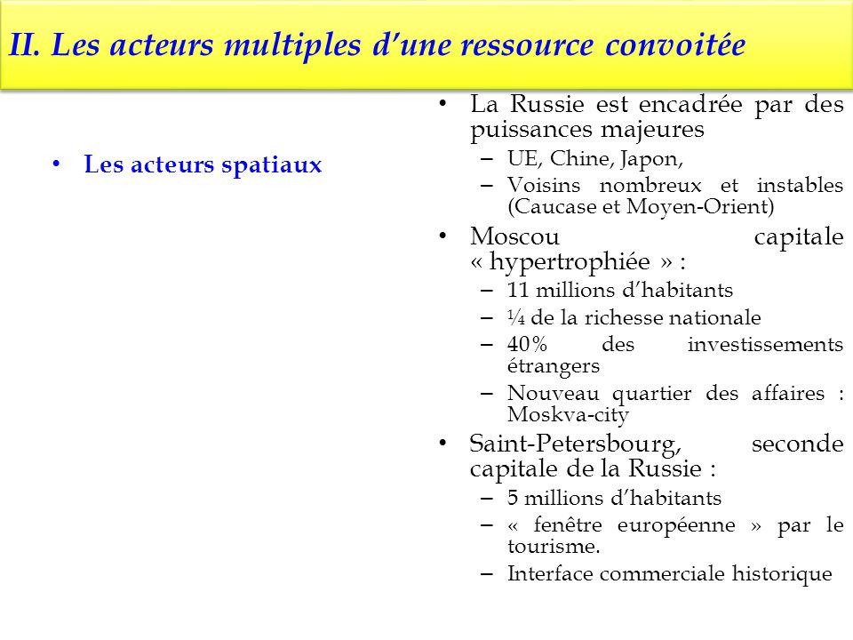 II. Les acteurs multiples dune ressource convoitée Les acteurs spatiaux La Russie est encadrée par des puissances majeures – UE, Chine, Japon, – Voisi