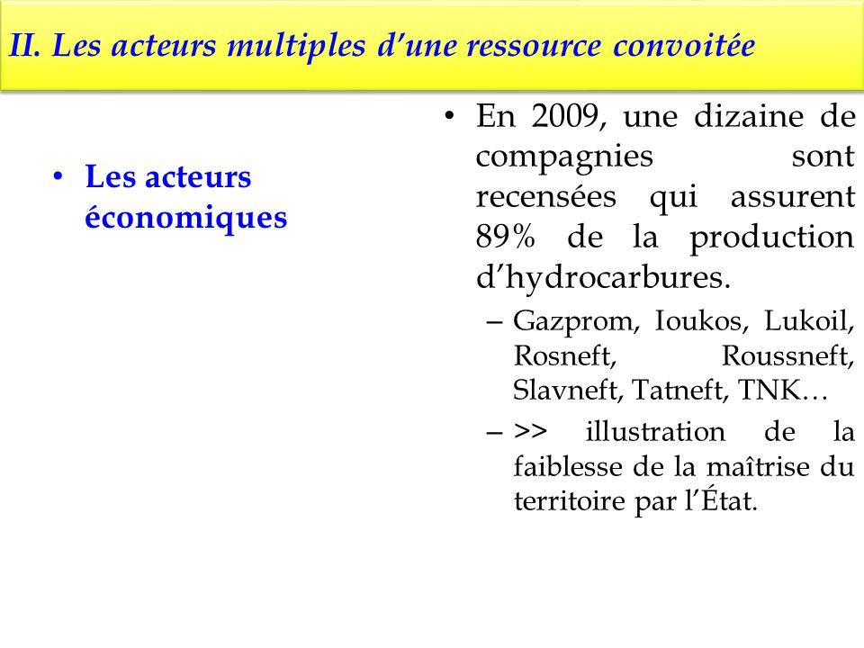 II. Les acteurs multiples dune ressource convoitée Les acteurs économiques En 2009, une dizaine de compagnies sont recensées qui assurent 89% de la pr
