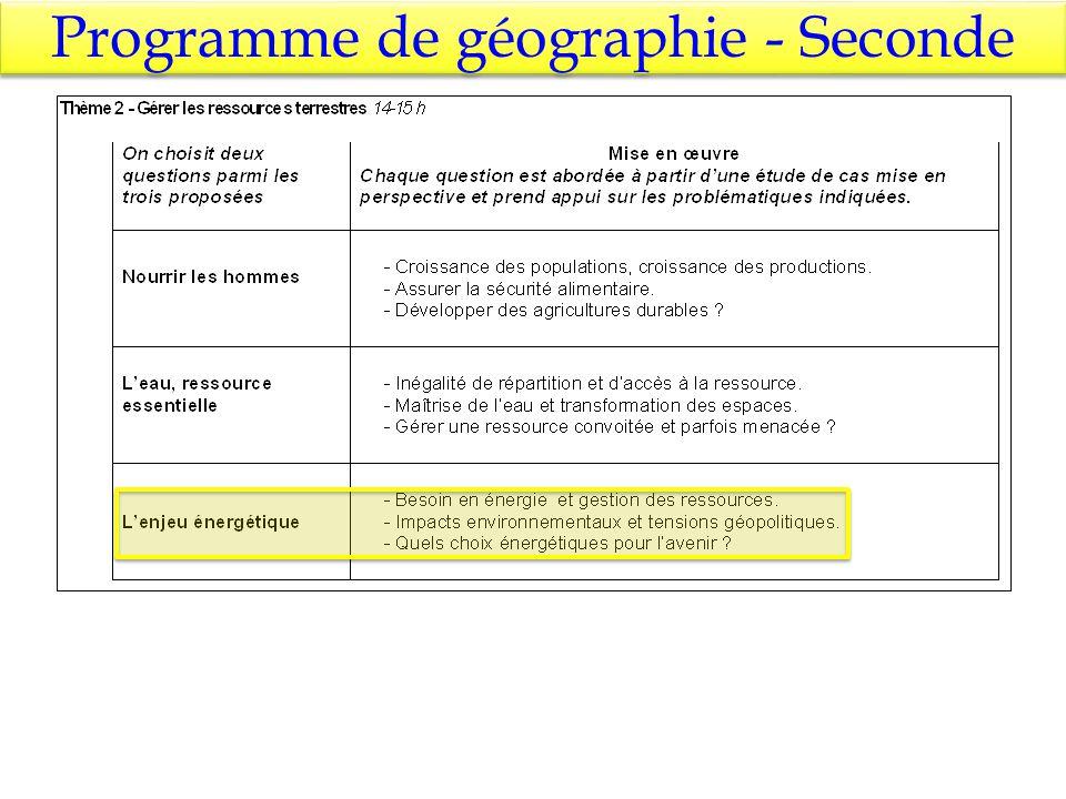Programme de géographie - Seconde