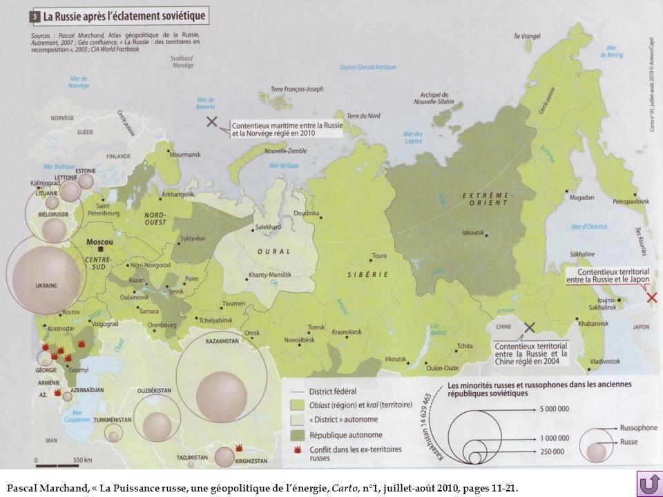 Pascal Marchand, « La Puissance russe, une géopolitique de lénergie, Carto, n°1, juillet-août 2010, pages 11-21.