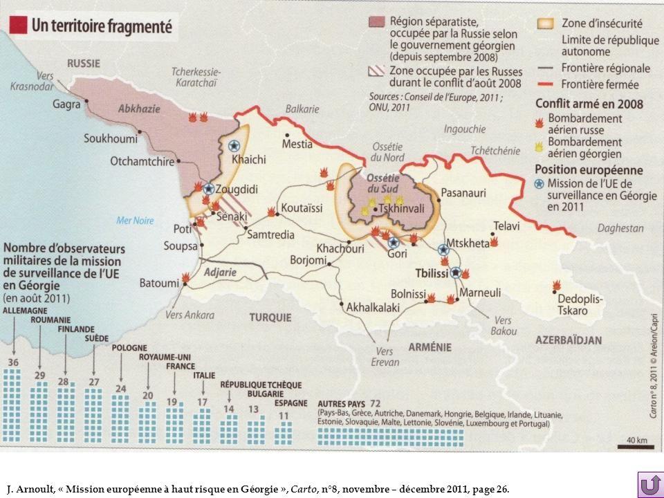 J. Arnoult, « Mission européenne à haut risque en Géorgie », Carto, n°8, novembre – décembre 2011, page 26.