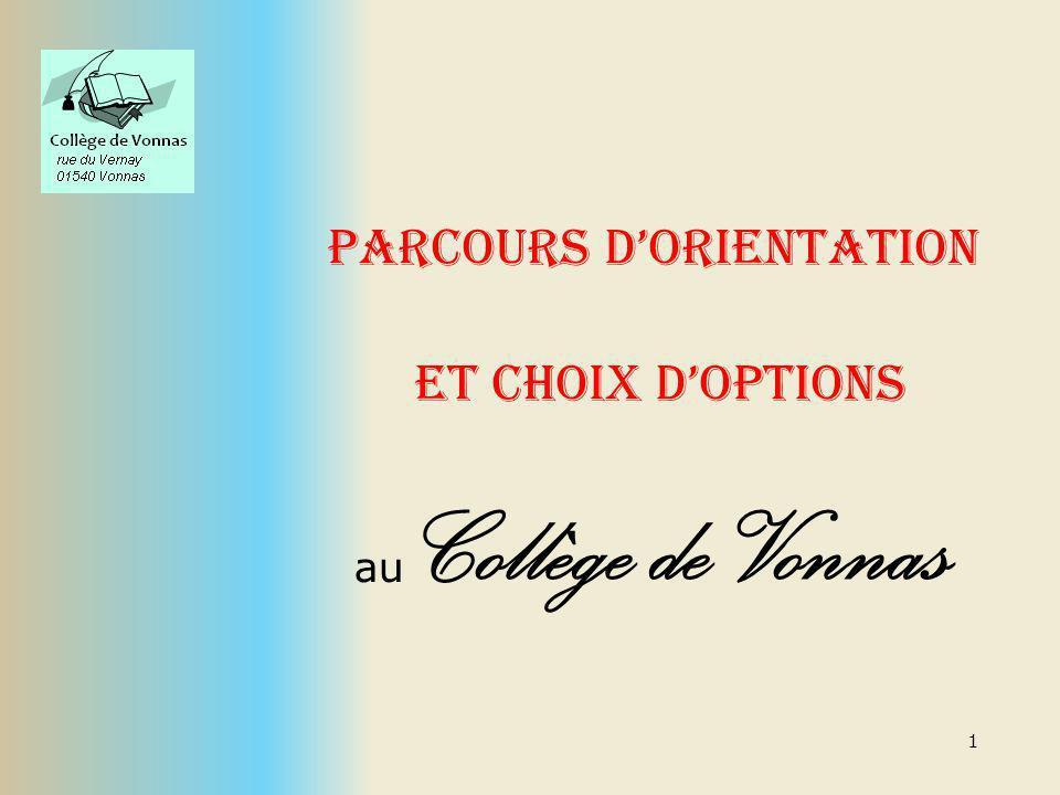 1 Parcours dorientation et choix doptions au Collège de Vonnas