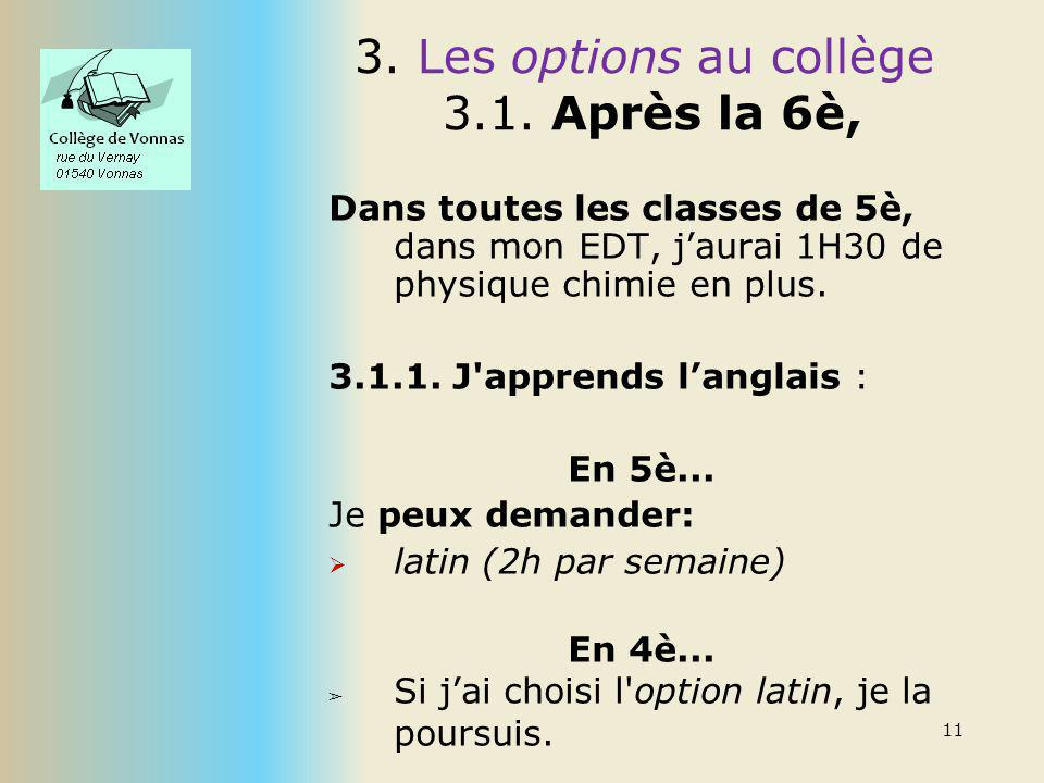Les options au collège Après la 6è, 3.1.2.