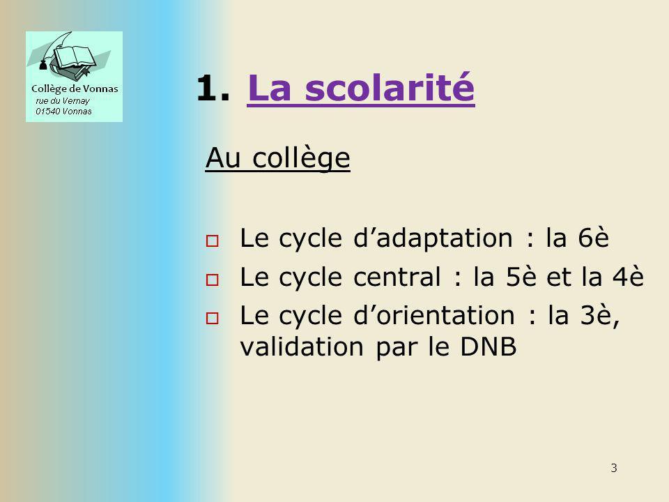 1.La scolarité Au collège Le cycle dadaptation : la 6è Le cycle central : la 5è et la 4è Le cycle dorientation : la 3è, validation par le DNB 3