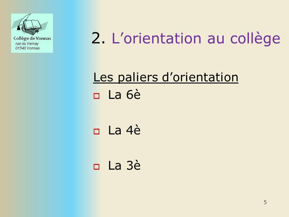2. Lorientation au collège Les paliers dorientation La 6è La 4è La 3è 5