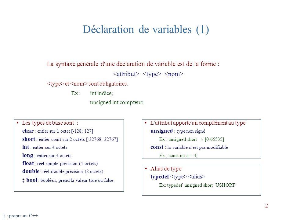 Déclaration de variables (2) Type enum enum direction {nord, est, sud, ouest}; enum direction vent = sud; Le compilateur associe à chaque direction un entier (int) à partir de 0 (par défaut).