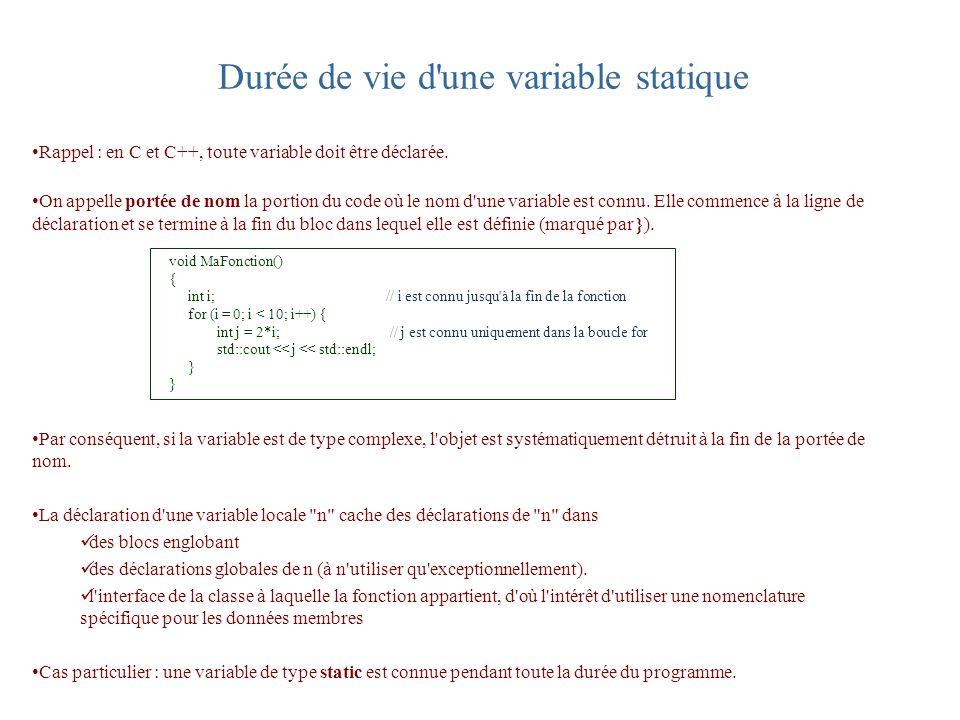 Durée de vie d'une variable statique Rappel : en C et C++, toute variable doit être déclarée. On appelle portée de nom la portion du code où le nom d'