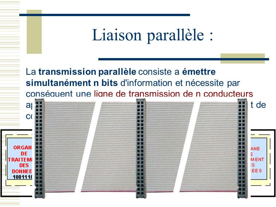 La transmission parallèle consiste a émettre simultanément n bits d information et nécessite par conséquent une ligne de transmission de n conducteurs appelée bus, associée à des conducteurs de contrôle et de commande.