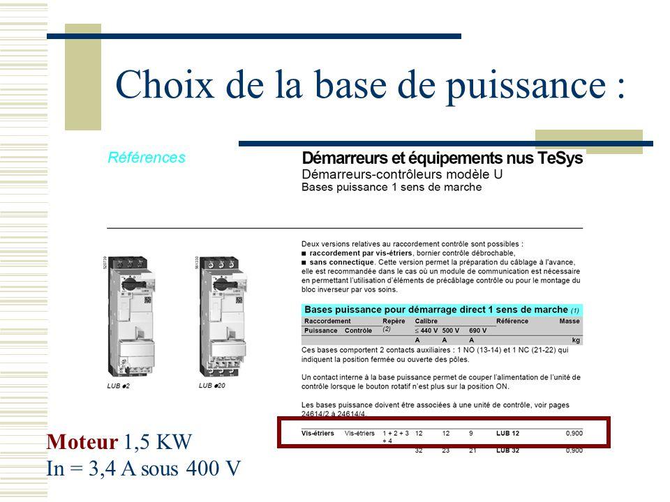 Choix de la base de puissance : Moteur 1,5 KW In = 3,4 A sous 400 V