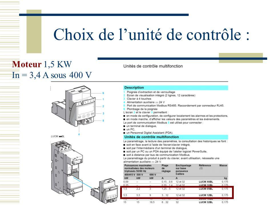 Choix de lunité de contrôle : Moteur 1,5 KW In = 3,4 A sous 400 V