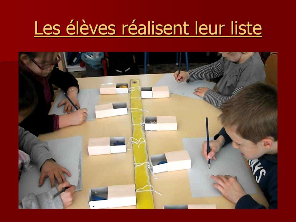 Les élèves réalisent leur liste Les élèves réalisent leur liste