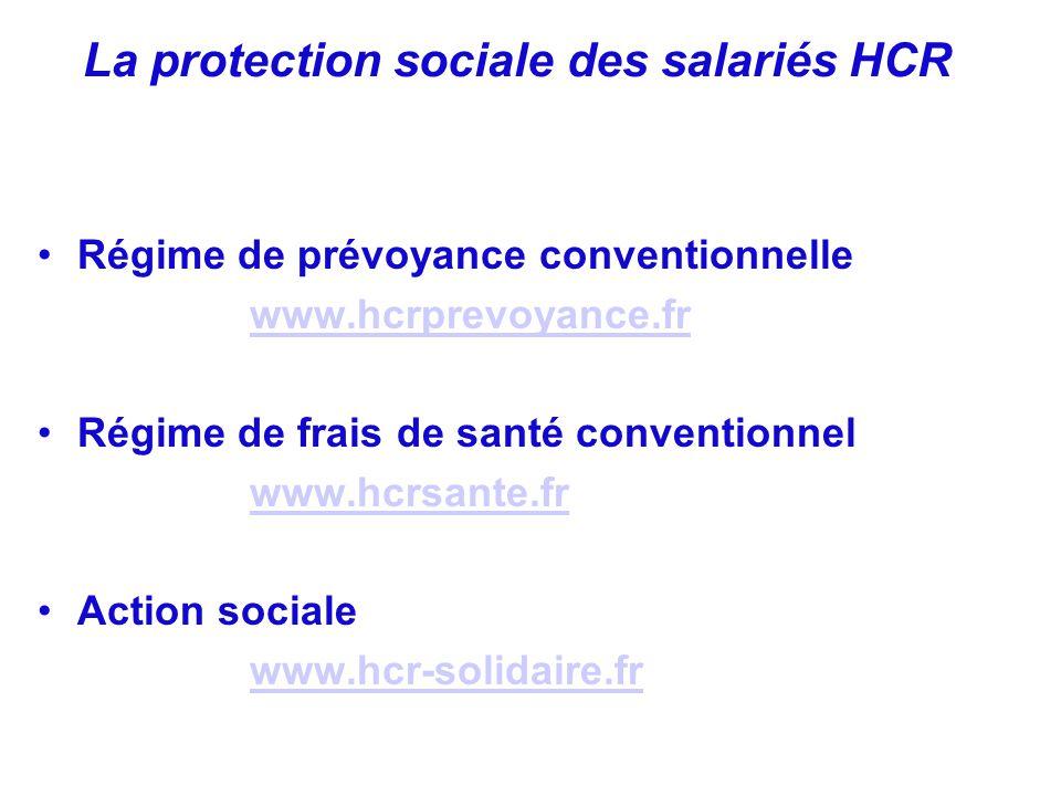 Régime de prévoyance conventionnelle www.hcrprevoyance.fr Régime de frais de santé conventionnel www.hcrsante.fr Action sociale www.hcr-solidaire.fr L