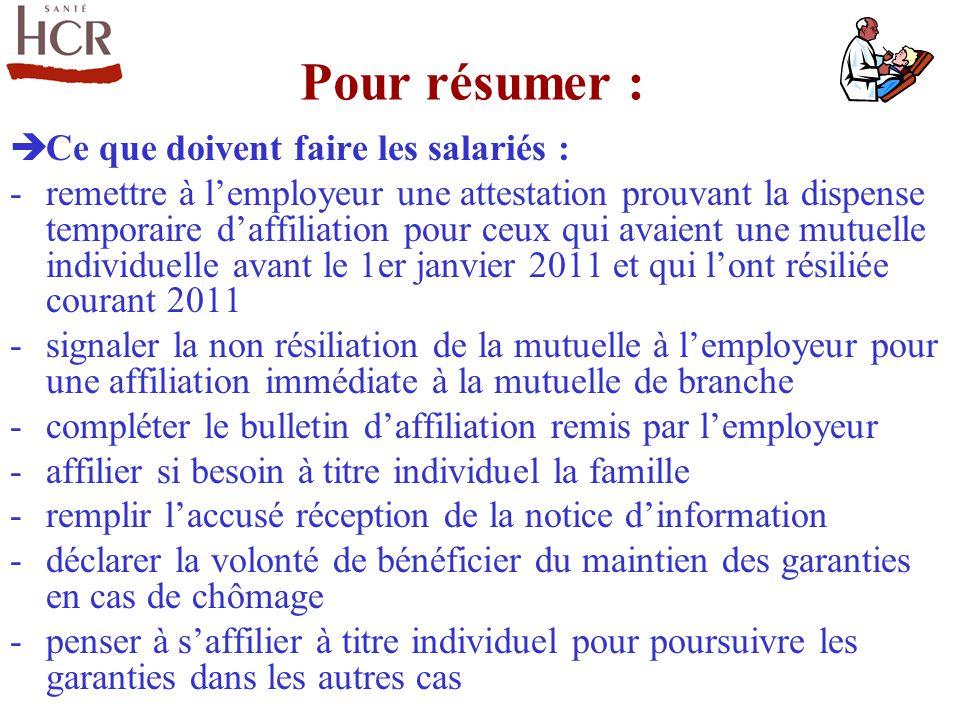Ce que doivent faire les salariés : -remettre à lemployeur une attestation prouvant la dispense temporaire daffiliation pour ceux qui avaient une mutu