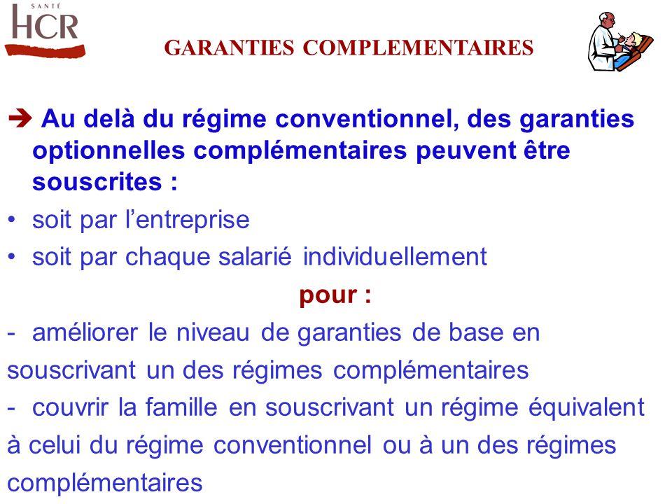 Au delà du régime conventionnel, des garanties optionnelles complémentaires peuvent être souscrites : soit par lentreprise soit par chaque salarié ind